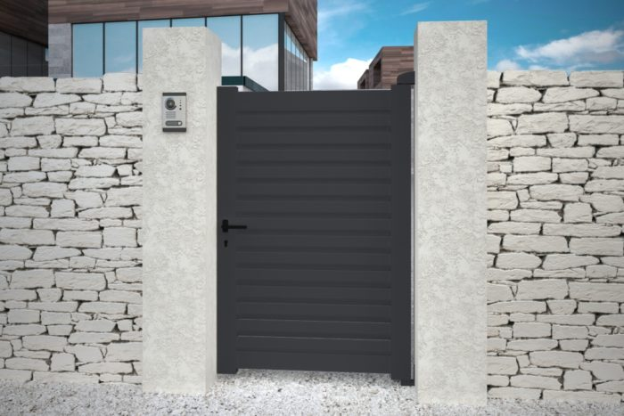 Portillon contemporain gris anthracite aluminium plein droit