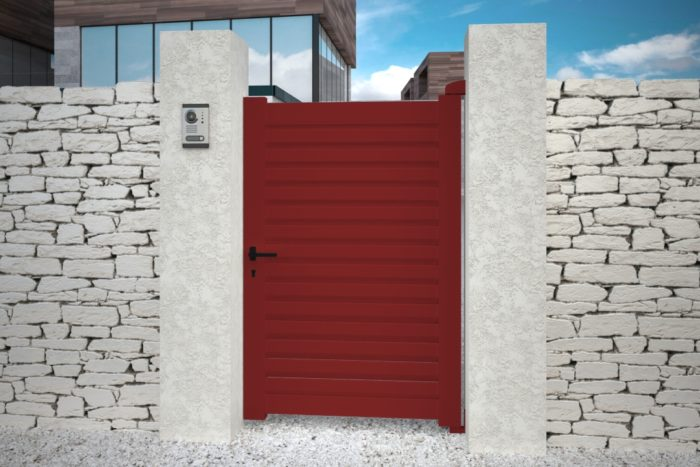 Portillon contemporain rouge aluminium plein droit