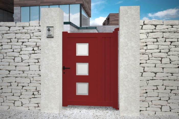 Portillon Nassau design aluminium rouge plein droit