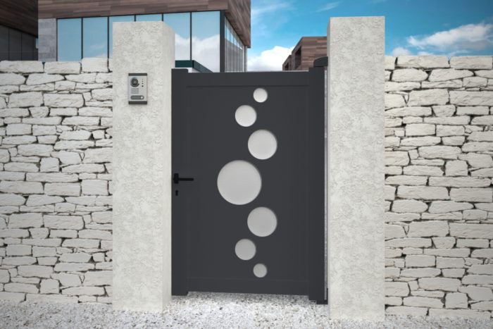 Portillon Vitoria gris anthracite design aluminium plein droit battant
