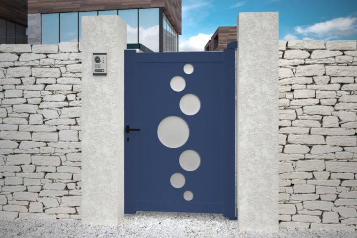 Portillon Vitoria bleu design aluminium plein droit battant