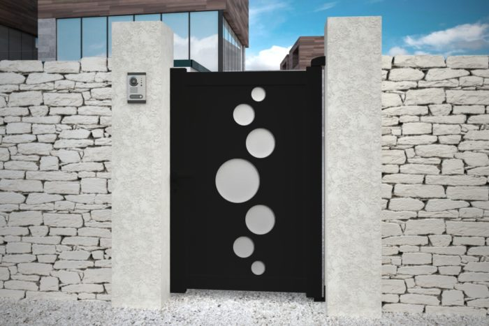 Portillon Vitoria noir design aluminium plein droit battant
