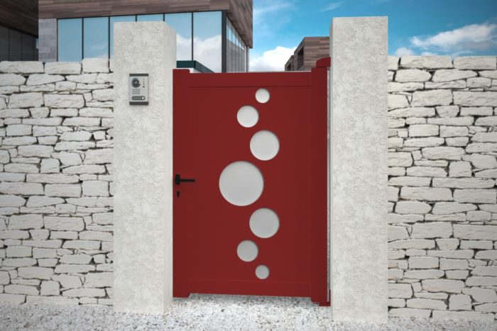Portillon Vitoria rouge design aluminium plein droit battant