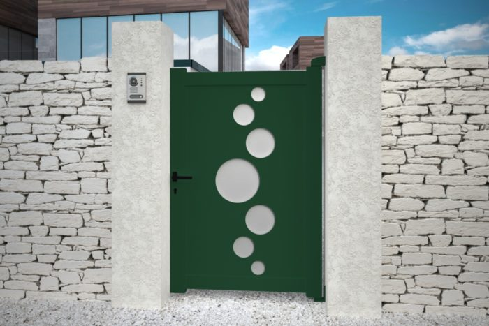 Portillon Vitoria vert design aluminium plein droit battant